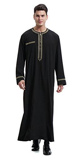 Ababalaya Men's O-Neck Zipper Long Sleeve Saudi Arab Thobe I