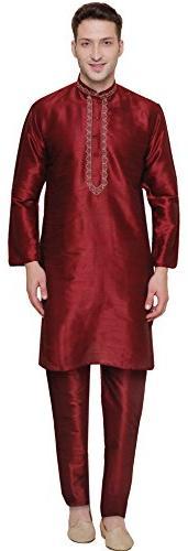 Party Wear Dupion Silk Mens Kurta Pajama India Clothing