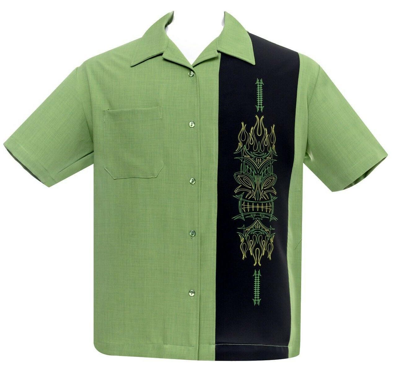 Steady Clothing Pinstripe Tiki Luau Face Bowling Shirt Rod