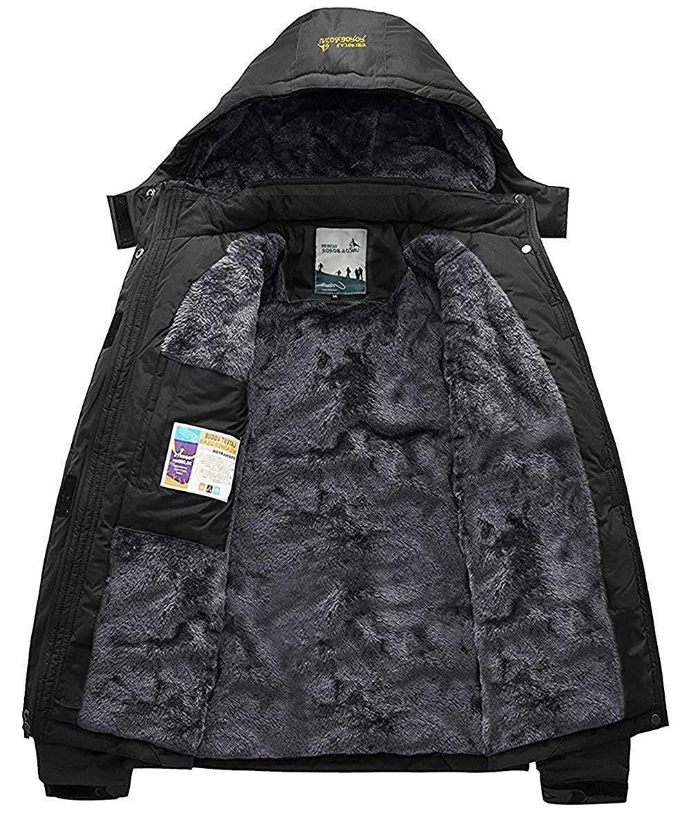Pooluly Rain Hooded Fleece Ski Coat
