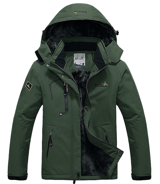 Pooluly Men's Windproof Rain Fleece Coat