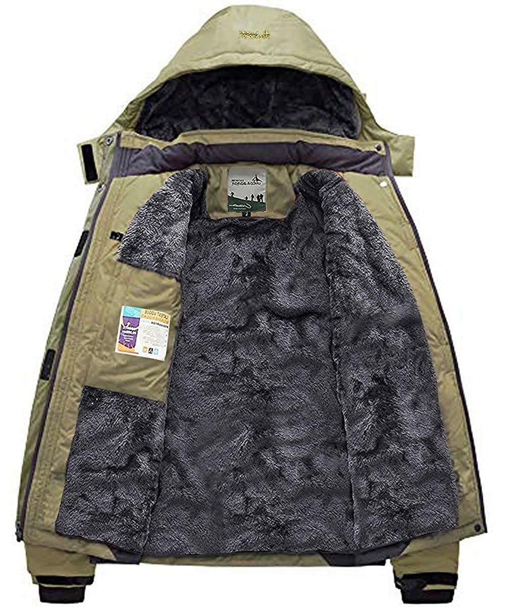 Pooluly Men's Windproof Rain Jacket Hooded Fleece Coat