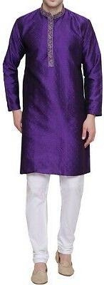 purple size 44 kurta pajama jacquard complete