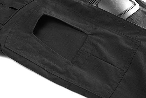 TACVASEN Mens Outdoor Ripstop Paintball BDU Trousers with Knee Pads Black