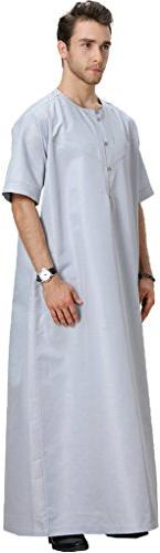 Ababalaya Men's Round Half Solid Arab Thobe Islamic Dubai