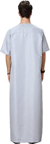 Ababalaya Neck Half Arab Thobe Islamic Muslim Dubai Robe,Gray,M