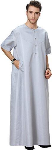 Ababalaya Mens Round Neck Half Sleeve Solid Saudi Arab Thobe Islamic Muslim Dubai Robe