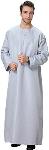 Ababalaya Men's Round Neck Long Sleeve Solid Saudi Arab Thob