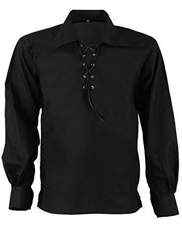 scottish highland jacobite jacobean ghillie kilt shirt