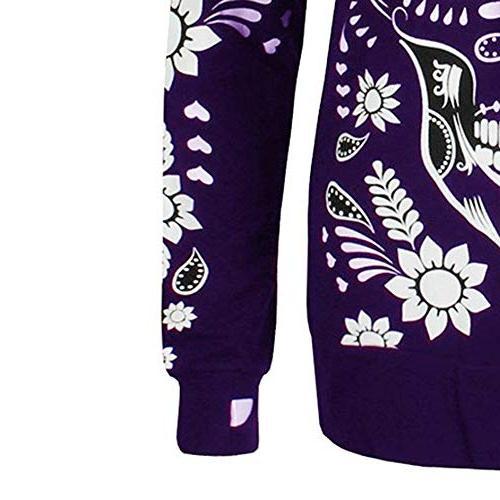 Shusuen ◈ Women Plus Size Sleeve Skull Zipper Hooded Blouse Plus Size Pullover