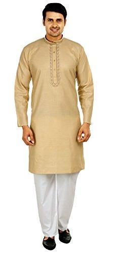 Silk Cotton Embroidered Mens Kurta Pajama India Clothing