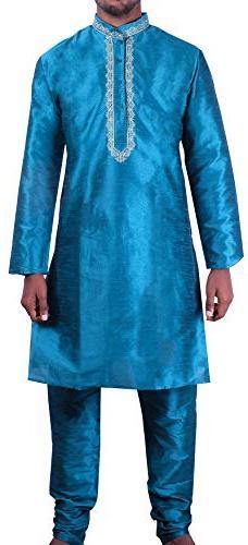 Silk Dupion Mens Kurta Pajama India Clothing