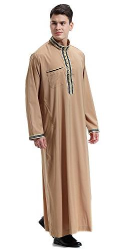 Ababalaya Men's Stand Neck Applique Long Sleeve Saudi Arab T