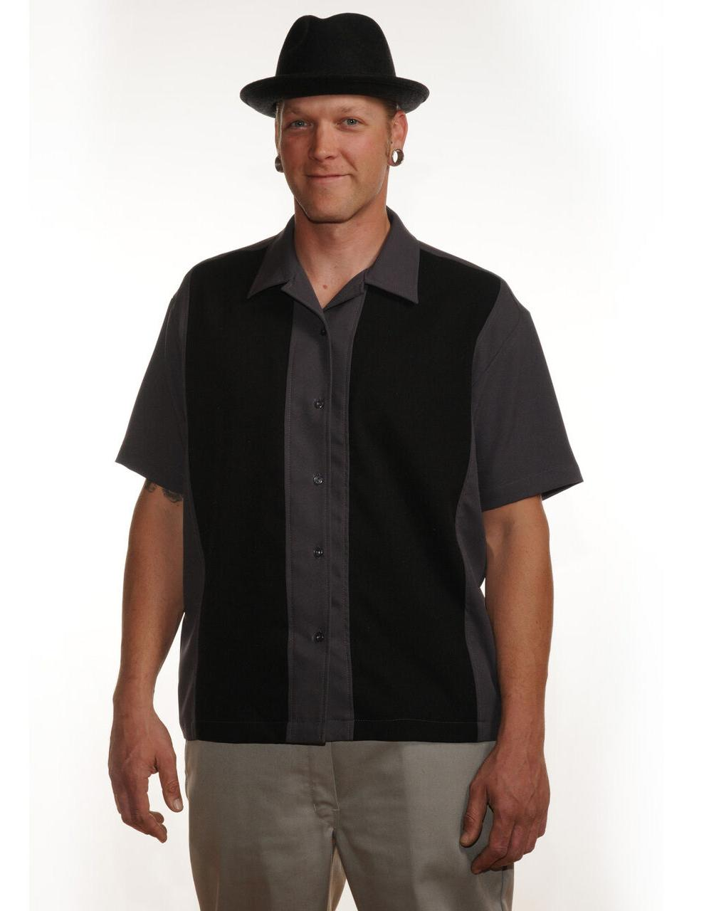 Steady Clothing Poplin panel Dark Gray Black Bowling Mens sh