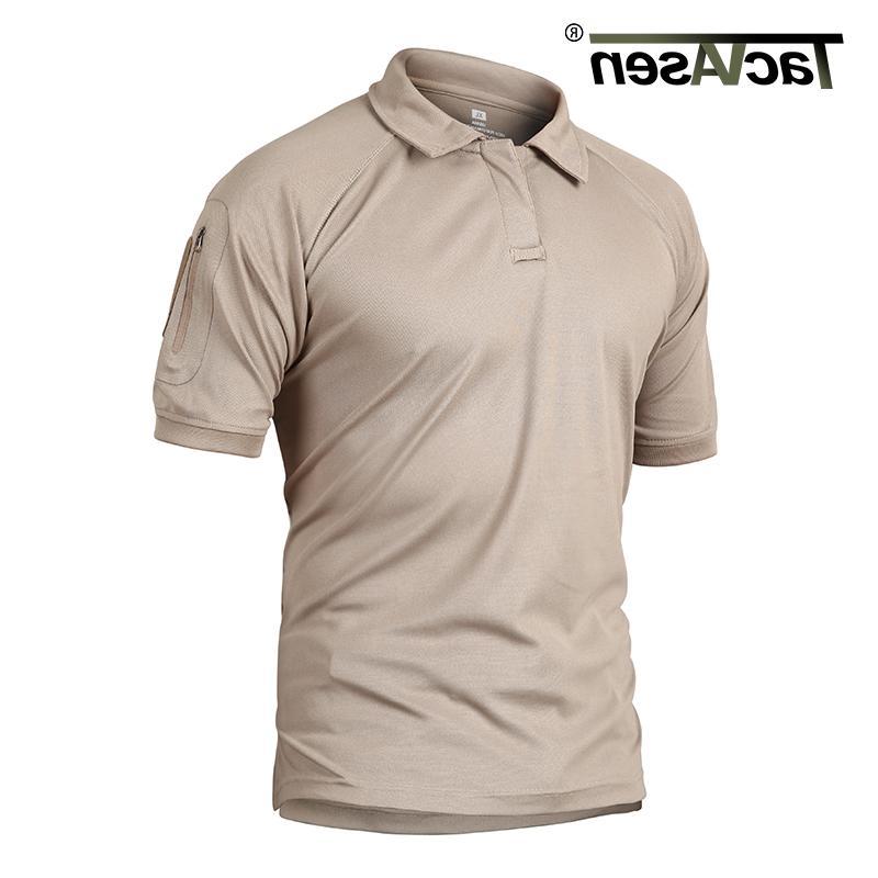 TACVASEN Summer T-shirts Polos Quick Mesh Shirt