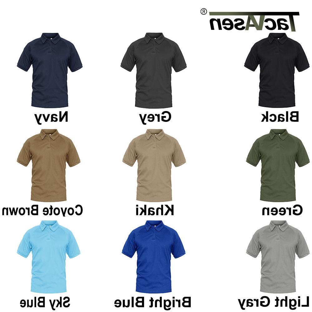 TACVASEN T-shirts Polos Men's Tactical Quick Mesh