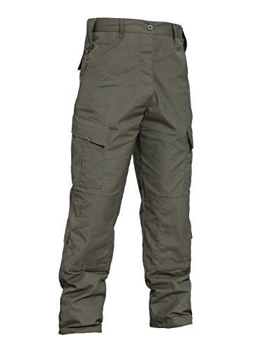 TACVASEN Men's Tactical Camo Cargo Pants Trousers L Army Green