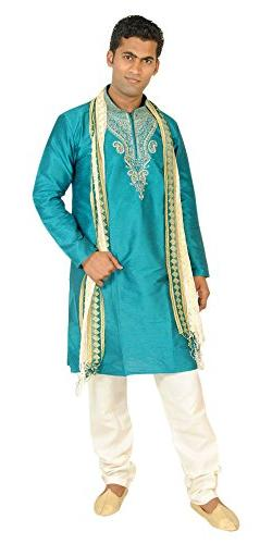 Apparelsonline Teal Men Kurta Set Sherwani Indian Wedding We