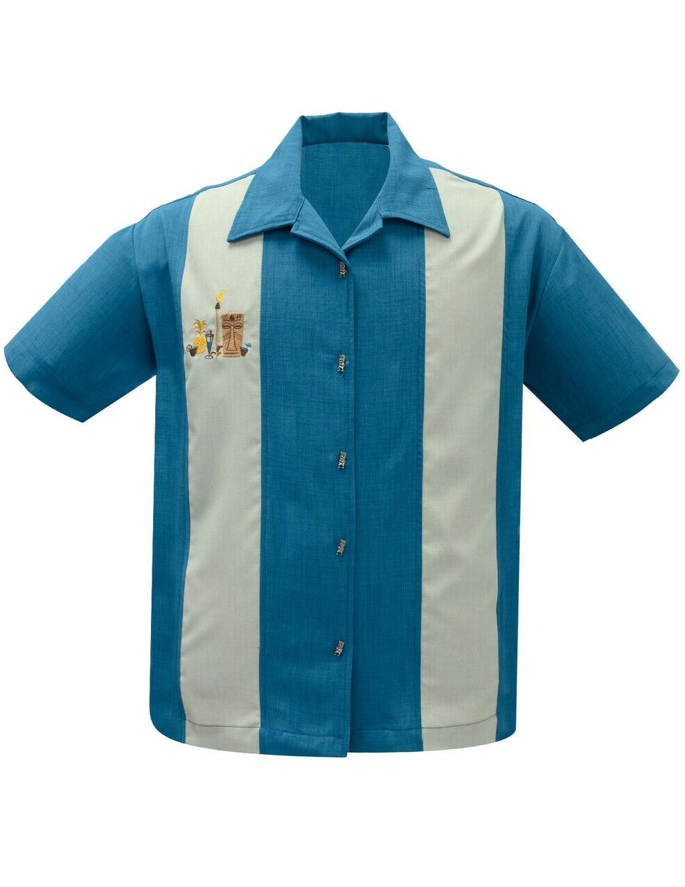 Steady Clothing The Mickey Pacific Blue Panel Shirt Bowling