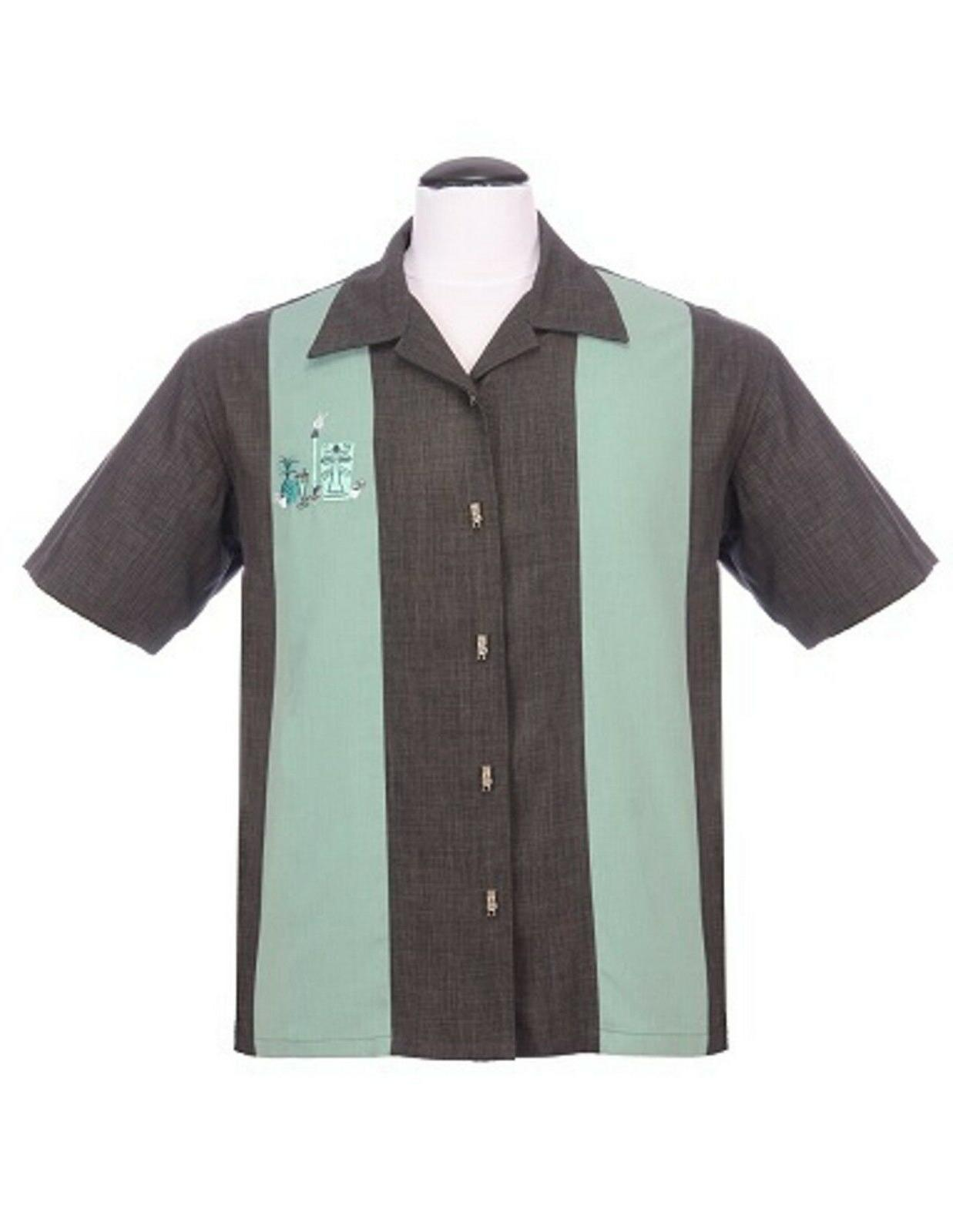 Steady Clothing Tiki Button's Up Charcoal Sage Green Men's B