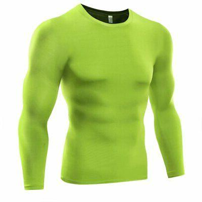 US Men Compression Shirt Base Thermal Sport Sleeve Training