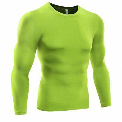 US Men Compression Shirt Base Thermal Sport Sleeve Training