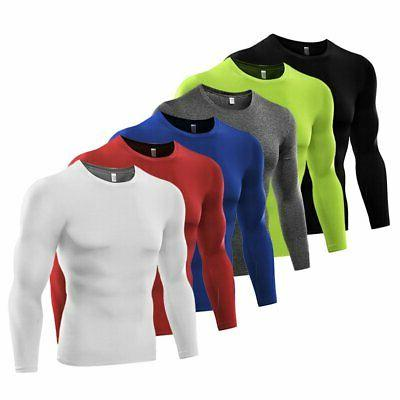 US Men Shirt Layer Tight Thermal Long Training