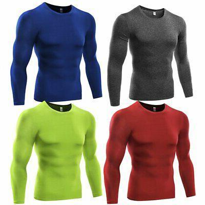 US Men T Shirt Base Thermal Sport Sleeve Training