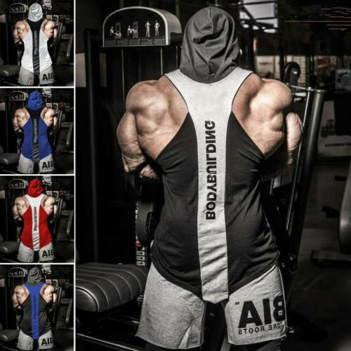 US Bodybuilding Hoodie Tops Muscle hooded T Shirt
