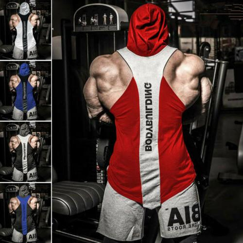 US Men Gym Clothing Bodybuilding Stringer Hoodie Tank Tops Muscle T Shirt