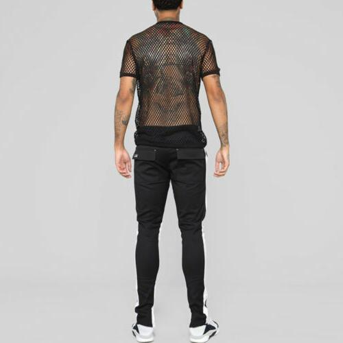 US Men's T-shirt Through Tops Fish Net Short Sleeve Sport Tank