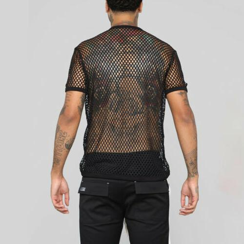 US T-shirt Fish Net Sleeve Sport