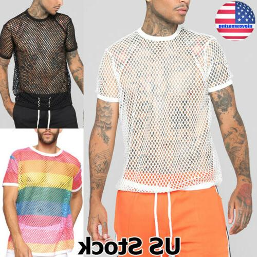 us men s sexy mesh t shirt