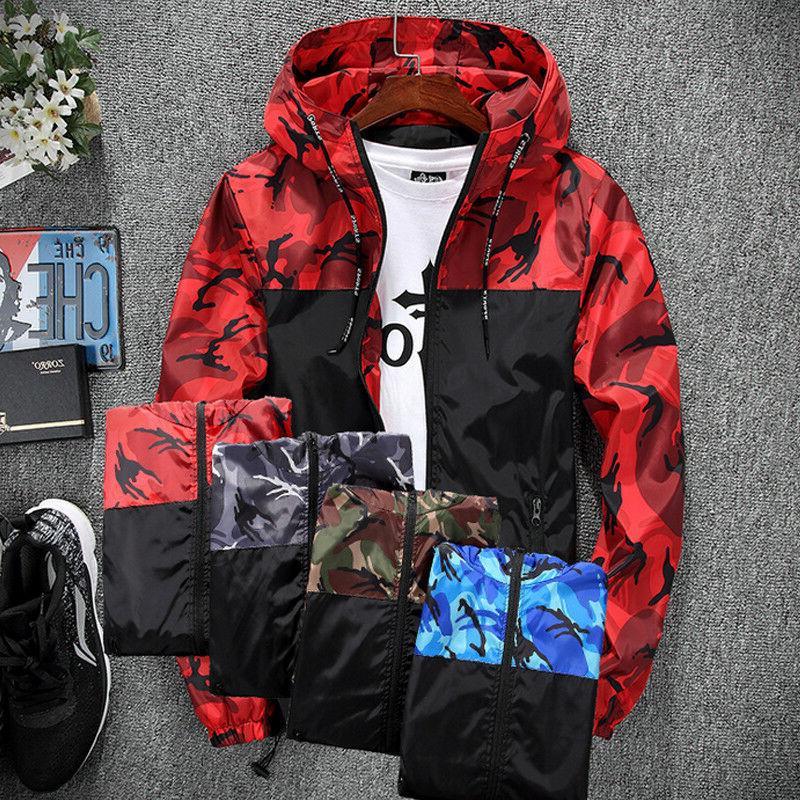 US Mens Coat Hoodies Windbreaker Sport Outwear