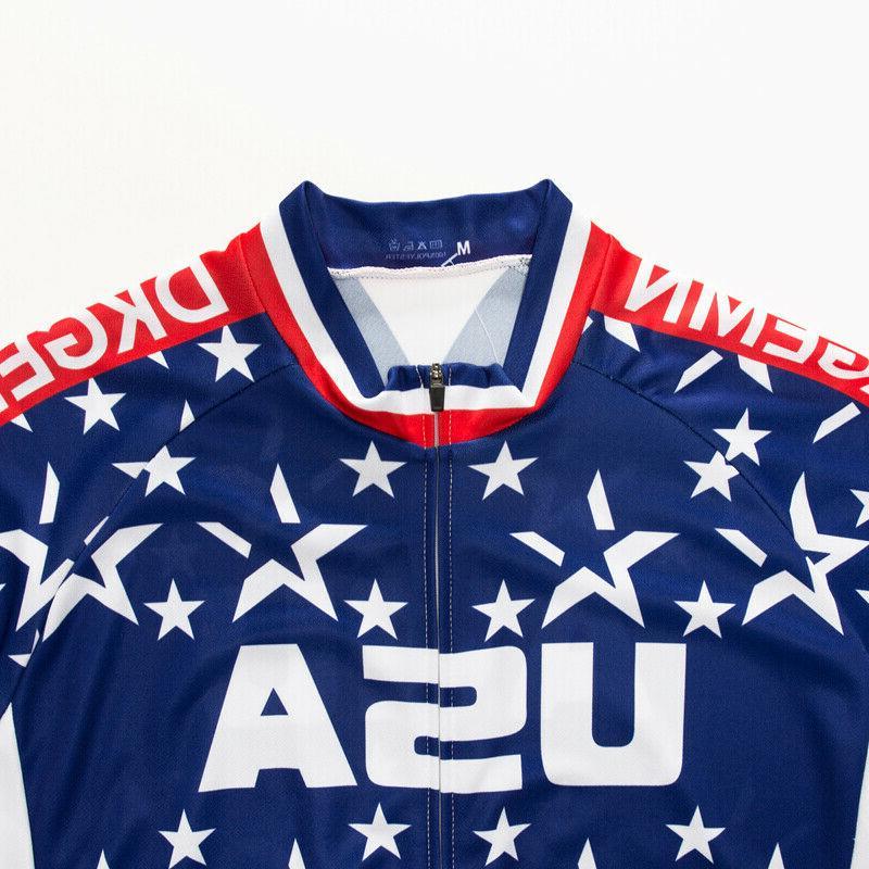 USA Flag Men's Cycling Tops Clothing Short Jersey Shirt Team
