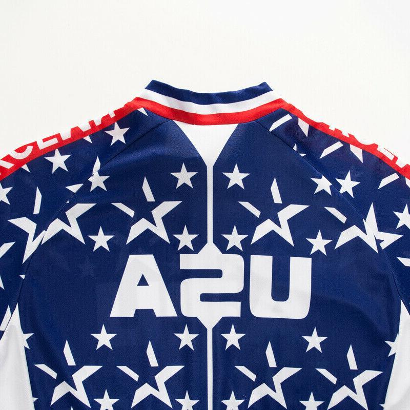 USA Flag Men's Cycling Tops Clothing Jerseys Short Sleeve Shirt