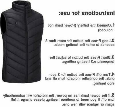 USB Heated Vest Men Women Thermal Jacket Rechargeable