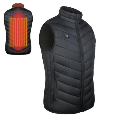 USB Electric Heated Vest Men Thermal Jacket Rechargeable Heating