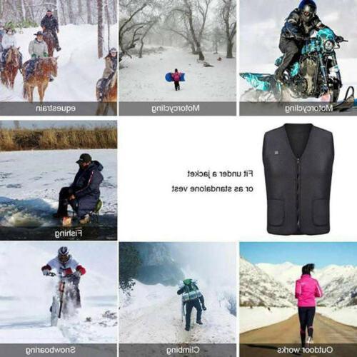 USB Heated Clothing Men Jacket Heated Winter Body Warmer