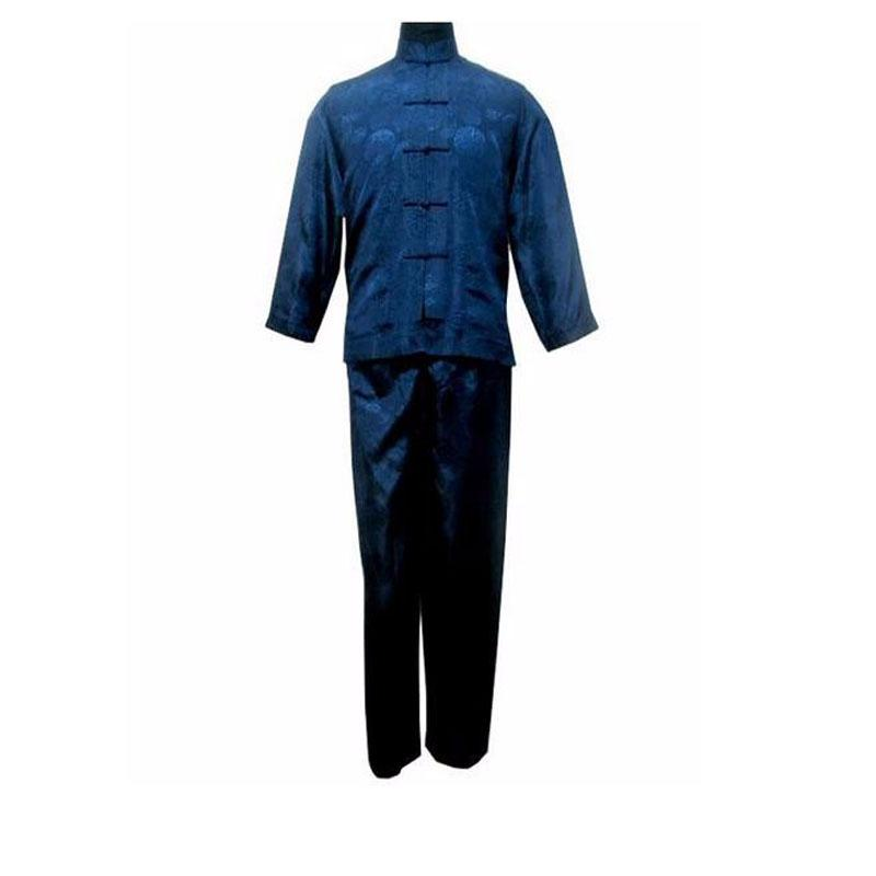 White Satin Kung Fu Suit Traditional Male Sets Tai Chi <font><b>Clothing</b></font> Plus Size 011311