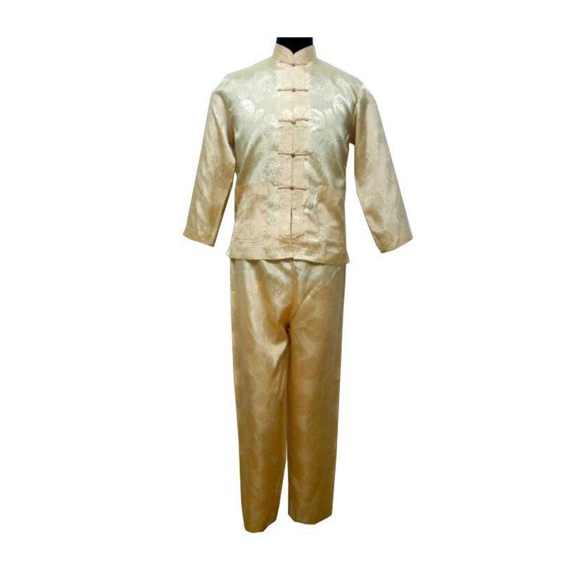 White Chinese <font><b>Men's</b></font> Kung Chinese Traditional Male Sets Tai Uniform <font><b>Clothing</b></font> Plus Size 011311