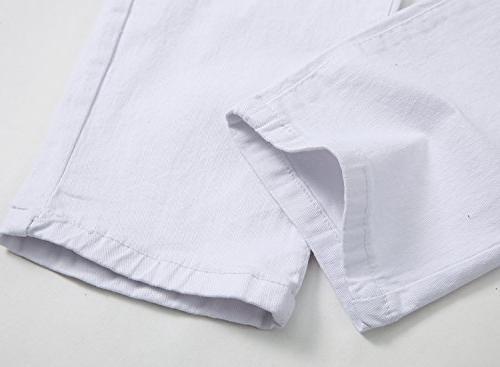 Men's White Fashion Jeans Pants,