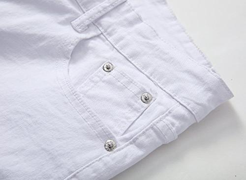 Men's White Fit Stretch Fashion Jeans Pants, 30W