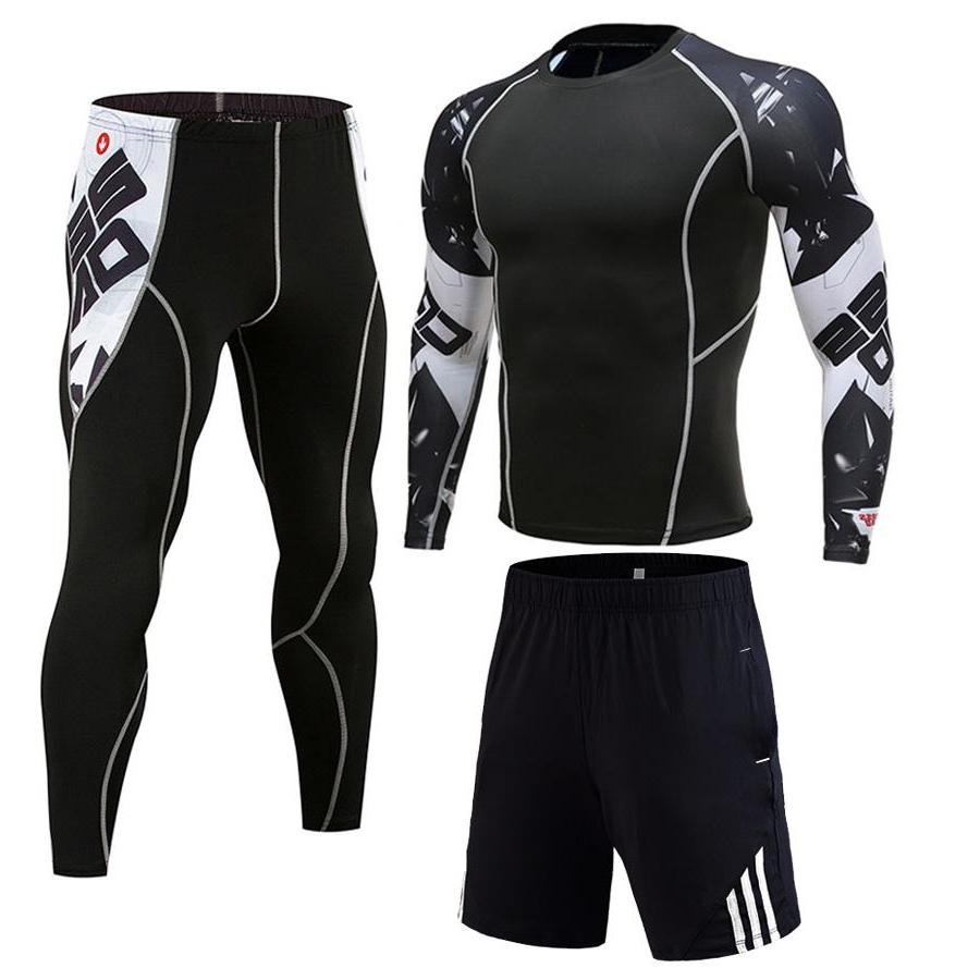 Winter Jogging Suit Man tracksuit Compression For Sports <font><b>clothing</b></font> <font><b>Cycling</b></font> tracksuit 3D wolf