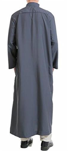 XiaoTianXin-men XTX Men's Muslim Abaya Turkey Long Sleeve Ethnic Gray Small