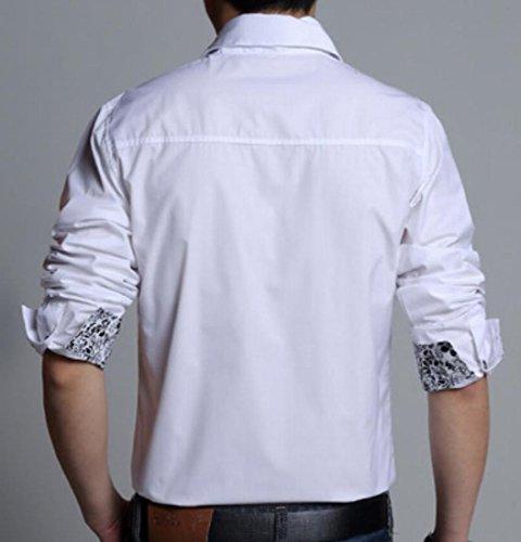 XiaoTianXin-men Dress Shirt Contrast Long Button Dress Shirt White US