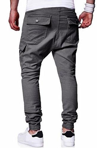 Casual Twil Multi Harem Cargo Jogger Pants Trousers Grey XL