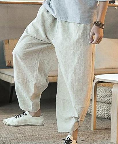 XiaoTianXin-men Men Drop Linen Baggy Khaki