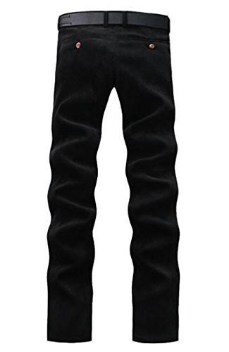 XiaoTianXin-men Straight Corduroy Slim Trousers Black 31