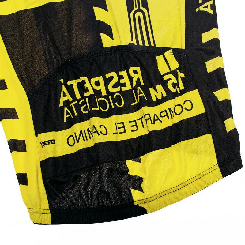 Yellow Bike Jerseys Cycling Short Tops Clothing 3 Pockets